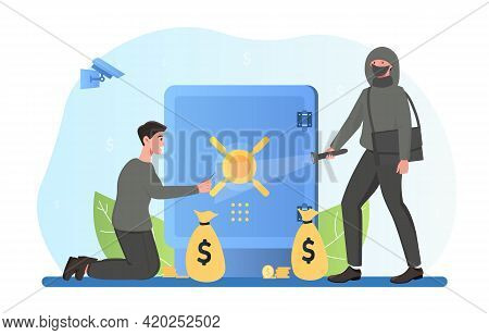 Group Of Burglar Of Organized Crime Breaking Safe To Steal Money, Data Or Treasure. Flat Abstract Me