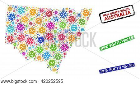 Vector Covid-2019 Collage New South Wales Map, And Grunge New South Wales Seals. Vector Colored New