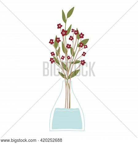 Beautiful Blooming Composition With Leaves And Stem Isolated On White. Flowering Plants And Herbs.