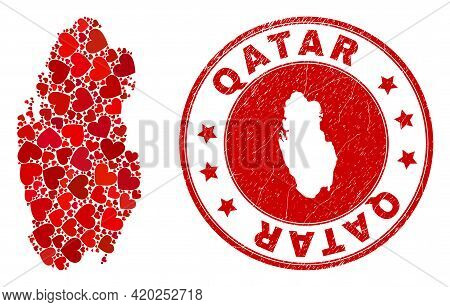 Mosaic Qatar Map Formed With Red Love Hearts, And Corroded Seal. Vector Lovely Round Red Rubber Seal