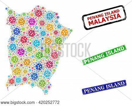 Vector Viral Collage Penang Island Map, And Grunge Penang Island Stamps. Vector Colorful Penang Isla