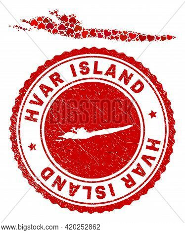 Mosaic Hvar Island Map Designed With Red Love Hearts, And Corroded Seal Stamp. Vector Lovely Round R