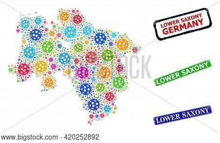 Vector Infection Mosaic Lower Saxony Land Map, And Grunge Lower Saxony Seals. Vector Colorful Lower