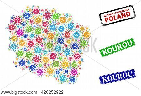 Vector Bacilla Collage Kujawy-pomerania Province Map, And Grunge Kourou Badges. Vector Colorful Kuja