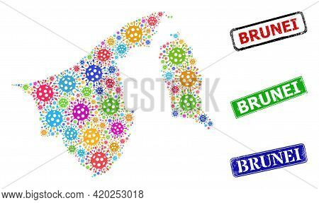 Vector Contagious Mosaic Brunei Map, And Grunge Brunei Seals. Vector Vibrant Brunei Map Mosaic, And