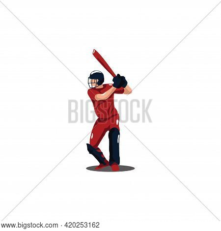 Cricket Athlete Getting Ready To Hit The Ball On Cricket Game - Sport Man Cartoon Getting Ready To H