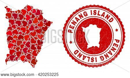 Mosaic Penang Island Map Designed With Red Love Hearts, And Dirty Stamp. Vector Lovely Round Red Rub