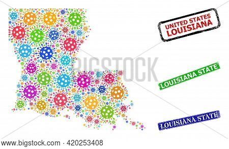 Vector Bacilla Collage Louisiana State Map, And Grunge Louisiana State Seal Stamps. Vector Colored L