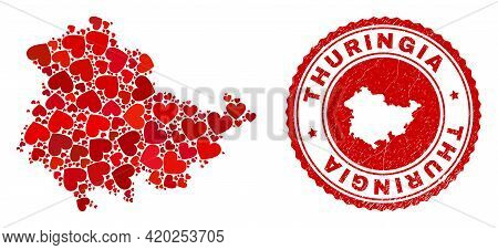 Mosaic Thuringia Land Map Created With Red Love Hearts, And Rubber Seal Stamp. Vector Lovely Round R