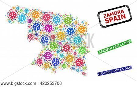 Vector Infection Mosaic Zamora Province Map, And Grunge Spanish Paella Day Seals. Vector Multi-color