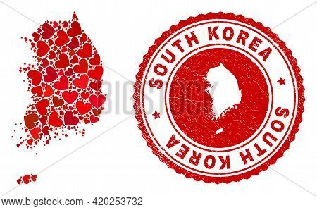 Mosaic South Korea Map Composed With Red Love Hearts, And Textured Seal Stamp. Vector Lovely Round R