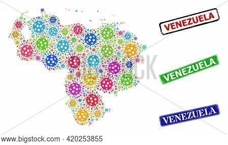 Vector Virulent Collage Venezuela Map, And Grunge Venezuela Badges. Vector Multi-colored Venezuela M