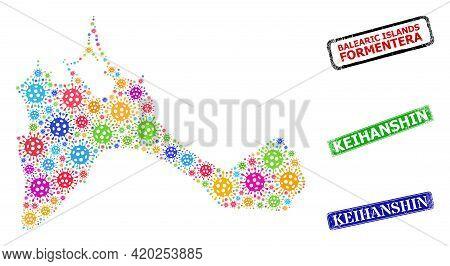 Vector Coronavirus Collage Formentera Island Map, And Grunge Keihanshin Stamps. Vector Multi-colored