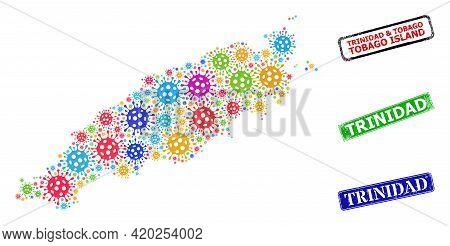 Vector Virulent Collage Tobago Island Map, And Grunge Trinidad Seals. Vector Multi-colored Tobago Is