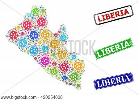 Vector Infection Mosaic Liberia Map, And Grunge Liberia Seals. Vector Colored Liberia Map Collage, A