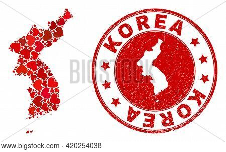 Mosaic Korea Map Designed With Red Love Hearts, And Corroded Seal Stamp. Vector Lovely Round Red Rub