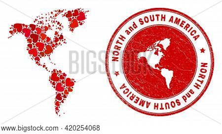 Mosaic South And North America Map Created With Red Love Hearts, And Corroded Seal Stamp. Vector Lov