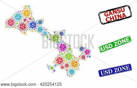Vector Contagious Collage Gansu Province Map, And Grunge Usd Zone Seals. Vector Colorful Gansu Provi