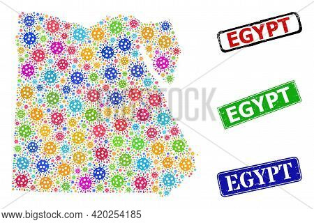 Vector Bacilla Mosaic Egypt Map, And Grunge Egypt Seal Stamps. Vector Multi-colored Egypt Map Collag