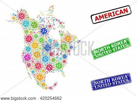 Vector Bacterium Mosaic North America V2 Map, And Grunge North Korea United States Stamps. Vector Co