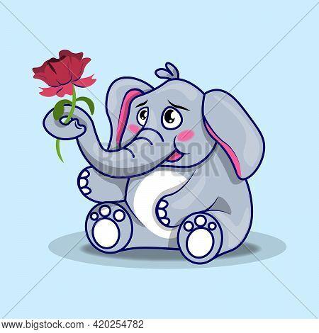 Elephant With Flower. Cute Cartoon Elephant. Flat Vector Illustration. Get Healthy.