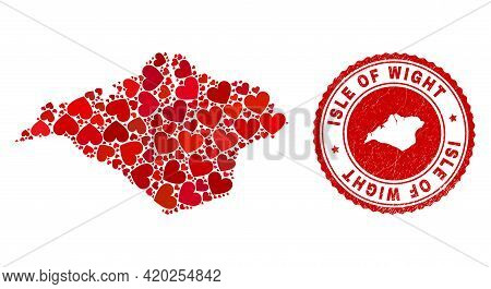 Collage Isle Of Wight Map Composed With Red Love Hearts, And Scratched Seal Stamp. Vector Lovely Rou
