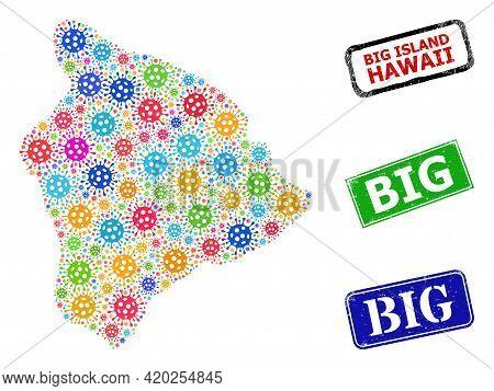 Vector Coronavirus Mosaic Hawaii Big Island Map, And Grunge Big Stamps. Vector Colorful Hawaii Big I