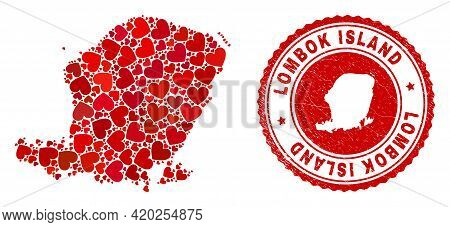 Mosaic Lombok Island Map Formed With Red Love Hearts, And Scratched Seal. Vector Lovely Round Red Ru