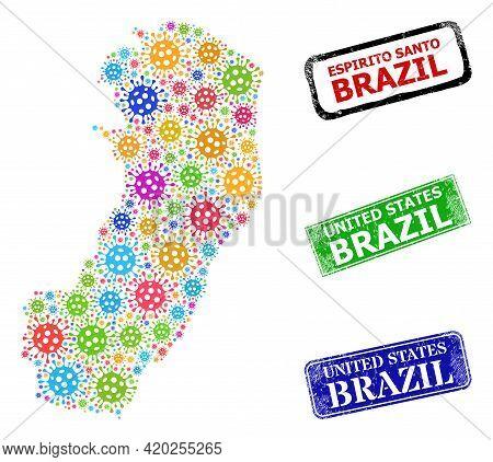 Vector Virus Collage Espirito Santo State Map, And Grunge United States Brazil Seals. Vector Colored