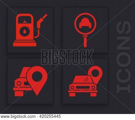 Set Map Pointer With Taxi, Petrol Or Gas Station, Magnifying Glass And Taxi Car And Map Pointer With