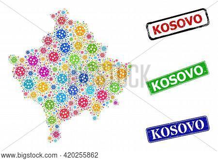 Vector Cell Collage Kosovo Map, And Grunge Kosovo Seal Stamps. Vector Multi-colored Kosovo Map Colla