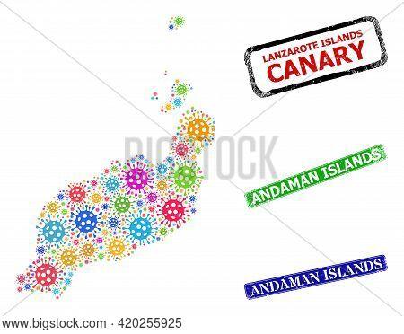 Vector Infection Mosaic Lanzarote Islands Map, And Grunge Andaman Islands Seals. Vector Colorful Lan