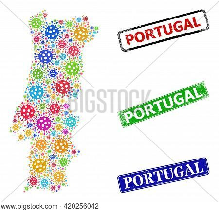 Vector Covid-2019 Collage Portugal Map, And Grunge Portugal Stamps. Vector Colorful Portugal Map Mos