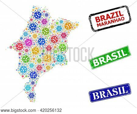 Vector Covid-2019 Mosaic Maranhao State Map, And Grunge Brasil Seals. Vector Vibrant Maranhao State