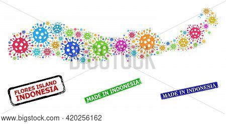 Vector Cell Mosaic Flores Island Of Indonesia Map, And Grunge Made In Indonesia Stamps. Vector Multi