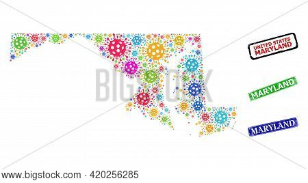 Vector Infection Collage Maryland State Map, And Grunge Maryland Badges. Vector Colored Maryland Sta