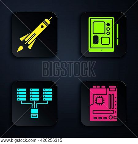 Set Motherboard, Rocket Ship With Fire, Server, Data, Web Hosting And Graphic Tablet. Black Square B