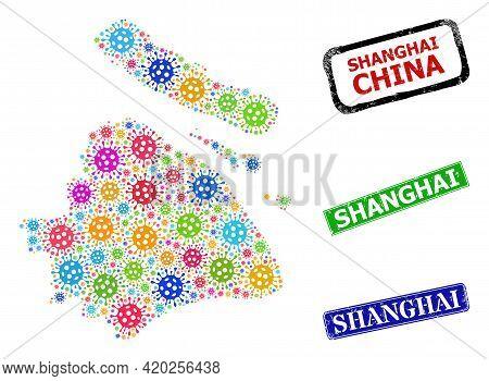 Vector Viral Mosaic Shanghai City Map, And Grunge Shanghai Stamps. Vector Multi-colored Shanghai Cit