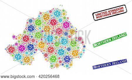 Vector Infection Collage Northern Ireland Map, And Grunge Northern Ireland Stamps. Vector Colored No