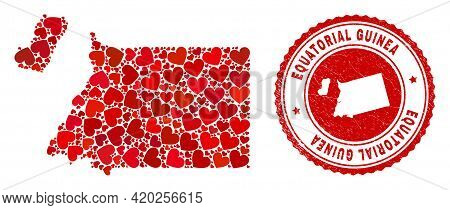 Collage Equatorial Guinea Map Created From Red Love Hearts, And Dirty Seal Stamp. Vector Lovely Roun