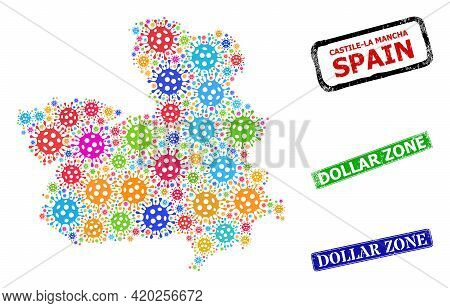 Vector Contagious Collage Castile-la Mancha Province Map, And Grunge Dollar Zone Badges. Vector Mult