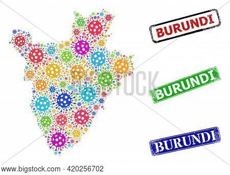 Vector Bacterium Collage Burundi Map, And Grunge Burundi Stamps. Vector Colorful Burundi Map Collage