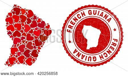 Mosaic French Guiana Map Created With Red Love Hearts, And Rubber Seal Stamp. Vector Lovely Round Re