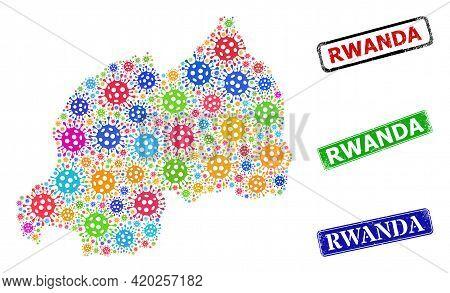 Vector Infection Mosaic Rwanda Map, And Grunge Rwanda Seals. Vector Colored Rwanda Map Collage, And