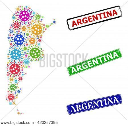 Vector Coronavirus Collage Argentina Map, And Grunge Argentina Seal Stamps. Vector Multi-colored Arg