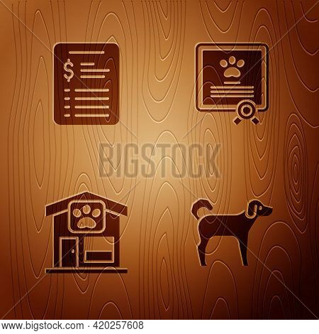 Set Dog, Grooming Salon Price List, Pet Grooming And Certificate For Dog Or Cat On Wooden Background