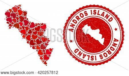 Mosaic Andros Island Of Greece Map Designed With Red Love Hearts, And Textured Seal Stamp. Vector Lo