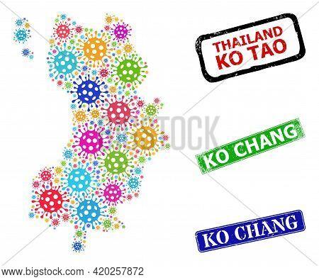 Vector Covid-2019 Mosaic Ko Tao Map, And Grunge Ko Chang Seals. Vector Multi-colored Ko Tao Map Mosa