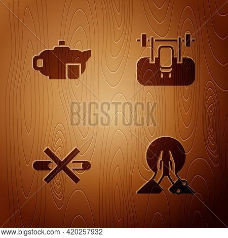 Set Meditation, Teapot With Cup, No Smoking And Bench Barbel On Wooden Background. Vector