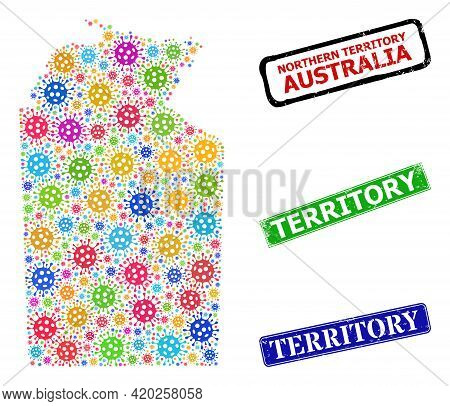 Vector Bacterium Mosaic Australian Northern Territory Map, And Grunge Territory Seal Stamps. Vector